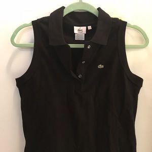 Lacoste 44/12 black sleeveless polo very good
